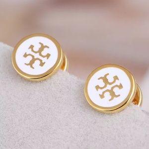 Tory Burch Gold/White Enamel Logo Stud Earrings